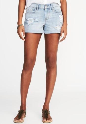 """Boyfriend Distressed Denim Shorts for Women (3"""") - Light Wash"""